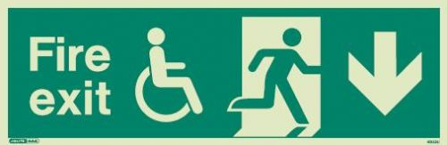 (4033) Jalite Mobility Impaired Fire Exit Down sign